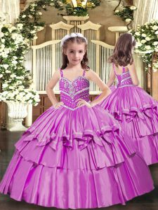 Lilac Sleeveless Floor Length Beading Lace Up Winning Pageant Gowns