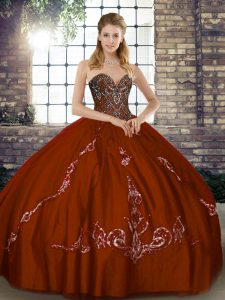 Brown Sweetheart Neckline Beading and Embroidery Quince Ball Gowns Sleeveless Lace Up