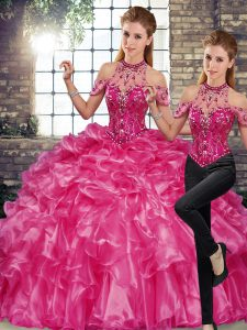 Custom Fit Sleeveless Organza Floor Length Lace Up 15 Quinceanera Dress in Fuchsia with Beading and Ruffles