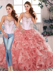 Watermelon Red Clasp Handle Scoop Beading and Ruffles Quinceanera Gown Organza Sleeveless