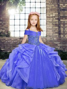Floor Length Lace Up Glitz Pageant Dress Blue for Party and Wedding Party with Beading and Ruffles