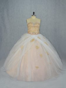 Charming Champagne Ball Gowns Tulle Sweetheart Sleeveless Beading and Appliques Lace Up Sweet 16 Quinceanera Dress