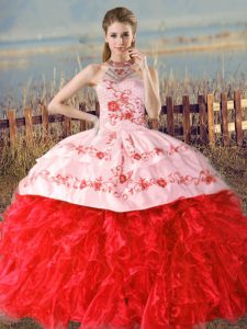 Luxurious Floor Length Red Sweet 16 Quinceanera Dress Organza Court Train Sleeveless Embroidery and Ruffles