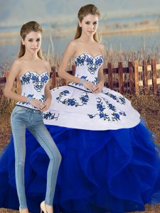 Sophisticated Royal Blue Sleeveless Floor Length Embroidery and Ruffles and Bowknot Lace Up Sweet 16 Dresses