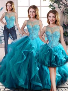 Graceful Three Pieces 15th Birthday Dress Aqua Blue Scoop Tulle Sleeveless Floor Length Lace Up