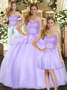 Lavender Three Pieces Organza Sweetheart Sleeveless Beading Floor Length Lace Up Sweet 16 Dresses
