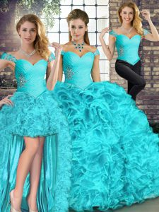Pretty Aqua Blue Sweet 16 Quinceanera Dress Military Ball and Sweet 16 and Quinceanera with Beading and Ruffles Off The Shoulder Sleeveless Lace Up