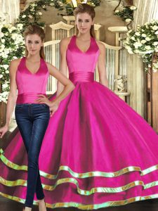 Ruffled Layers 15 Quinceanera Dress Fuchsia Lace Up Sleeveless Floor Length