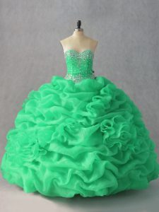 Cheap Green Organza Lace Up Sweetheart Sleeveless Floor Length Sweet 16 Dresses Beading and Pick Ups and Hand Made Flower