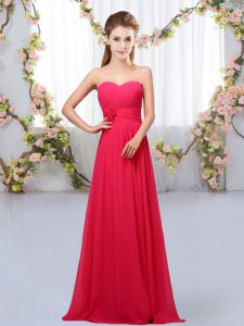 Fine Hot Pink Empire Sweetheart Sleeveless Chiffon Floor Length Lace Up Hand Made Flower Damas Dress