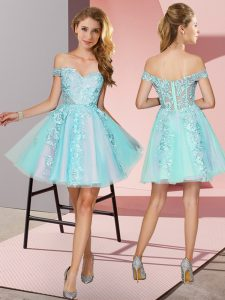 Artistic Sleeveless Mini Length Lace Zipper Quinceanera Court of Honor Dress with Aqua Blue