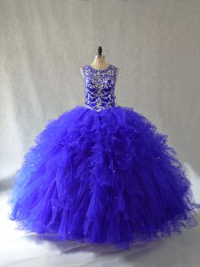 Floor Length Lace Up Quinceanera Gowns Royal Blue for Sweet 16 and Quinceanera with Beading and Ruffles