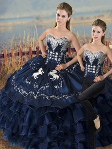 Pretty Navy Blue Satin and Organza Lace Up Vestidos de Quinceanera Sleeveless Floor Length Embroidery and Ruffles