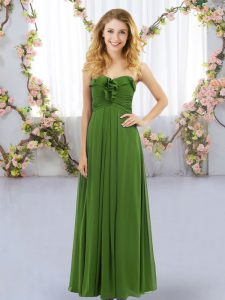 Fancy Empire Dama Dress for Quinceanera Olive Green Sweetheart Chiffon Sleeveless Floor Length Lace Up