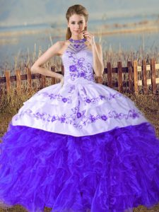 Custom Design Blue Lace Up Halter Top Embroidery and Ruffles Quinceanera Gown Organza Sleeveless Court Train