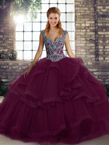 New Arrival Floor Length Dark Purple Sweet 16 Quinceanera Dress Tulle Sleeveless Beading and Ruffles