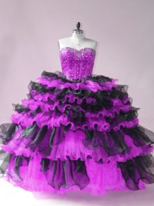 Beautiful Black And Purple Sweetheart Lace Up Beading and Ruffled Layers Quinceanera Gown Sleeveless