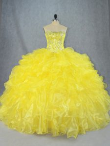 Smart Sleeveless Asymmetrical Beading and Ruffles Lace Up 15 Quinceanera Dress with Yellow