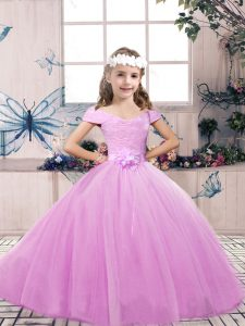 Ball Gowns Child Pageant Dress Lilac Off The Shoulder Tulle Sleeveless Floor Length Lace Up