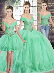 Apple Green Sleeveless Tulle Lace Up Quinceanera Dress for Military Ball and Sweet 16 and Quinceanera