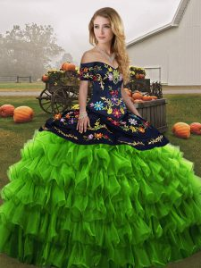 Chic Sleeveless Lace Up Floor Length Embroidery and Ruffled Layers Sweet 16 Dresses
