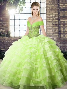 Beading and Ruffled Layers 15 Quinceanera Dress Yellow Green Lace Up Sleeveless Brush Train