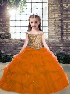 Cheap Orange Red Off The Shoulder Neckline Beading Little Girls Pageant Gowns Sleeveless Lace Up