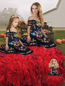 Off The Shoulder Sleeveless Organza 15th Birthday Dress Embroidery and Ruffles Lace Up