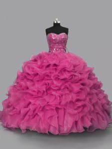 Glorious Floor Length Hot Pink Sweet 16 Dress Organza Sleeveless Beading