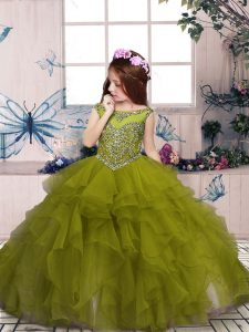 Organza Scoop Sleeveless Lace Up Beading and Ruffles Child Pageant Dress in Olive Green