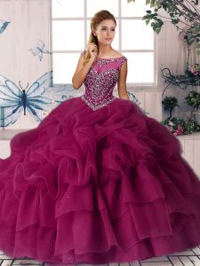 Excellent Fuchsia Sweet 16 Quinceanera Dress Scoop Sleeveless Brush Train Zipper