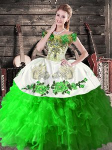 Ball Gowns Sweet 16 Quinceanera Dress Green Off The Shoulder Organza Sleeveless Floor Length Lace Up