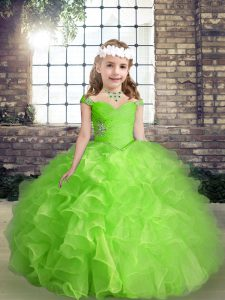 Straps Sleeveless Lace Up Kids Formal Wear Organza