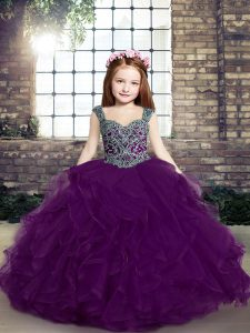 Floor Length Lace Up Little Girl Pageant Gowns Eggplant Purple for Party and Military Ball and Wedding Party with Beading and Ruffles