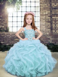 Fashionable Light Blue Sleeveless Beading and Ruffles Floor Length Girls Pageant Dresses