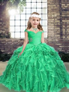 Beautiful Ball Gowns Little Girls Pageant Dress Wholesale Turquoise Straps Organza Long Sleeves Floor Length Lace Up