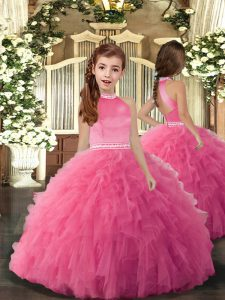 High-neck Sleeveless Glitz Pageant Dress Floor Length Beading and Ruffles Rose Pink Tulle