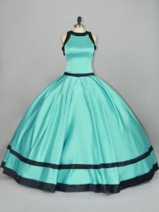 Aqua Blue Ball Gowns Satin Scoop Sleeveless Ruching Floor Length Zipper Sweet 16 Dress
