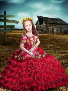 High End Organza Short Sleeves Floor Length Little Girls Pageant Dress Wholesale and Embroidery and Ruffled Layers