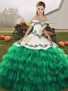 Extravagant Floor Length Turquoise 15th Birthday Dress Organza Sleeveless Embroidery and Ruffled Layers