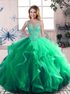 Attractive Green Ball Gowns Beading and Ruffles Sweet 16 Quinceanera Dress Lace Up Tulle Sleeveless Floor Length