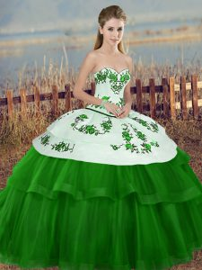 Extravagant Green Lace Up Quinceanera Dresses Embroidery and Bowknot Sleeveless Floor Length
