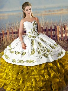 Satin and Organza Sleeveless Floor Length Quinceanera Gowns and Embroidery and Ruffles
