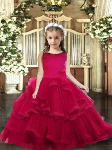 Floor Length Lace Up Kids Pageant Dress Red for Party and Wedding Party with Ruffled Layers