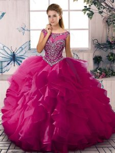 Fine Sleeveless Floor Length Beading and Ruffles Zipper Ball Gown Prom Dress with Fuchsia