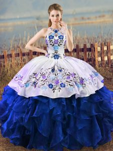 Blue And White Halter Top Neckline Embroidery and Ruffles Quinceanera Dress Sleeveless Lace Up