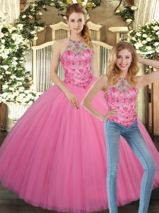 Amazing Rose Pink Ball Gowns Embroidery Sweet 16 Quinceanera Dress Lace Up Tulle Sleeveless Floor Length