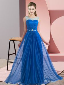 Blue Empire Scoop Sleeveless Chiffon Floor Length Lace Up Beading Quinceanera Dama Dress