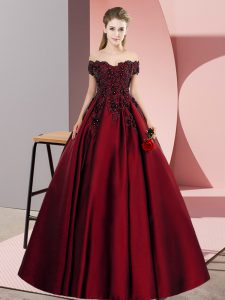 Great Floor Length Wine Red Sweet 16 Dresses Off The Shoulder Sleeveless Zipper