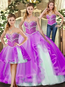 Lilac Lace Up Sweet 16 Dress Beading Sleeveless Floor Length
